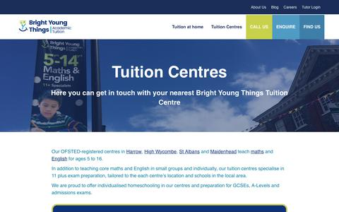 Screenshot of Locations Page brightyoungthings.co.uk - Tuition Centres | Our Tuition Centres in the U.K - captured Nov. 23, 2018