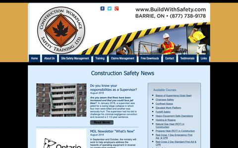 Screenshot of Press Page buildwithsafety.com - Construction Workplace Safety | Construction News | Barrie, ON - captured Sept. 29, 2018