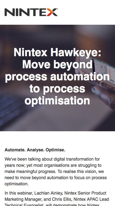 Nintex Hawkeye: Move beyond process automation to process optimisation