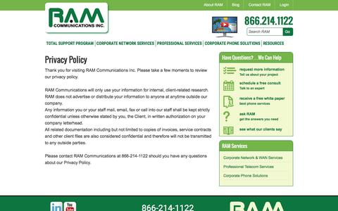 Screenshot of Privacy Page ramcomminc.com - RAM Communications Privacy Policy | Telecom Company Site - captured Dec. 1, 2016