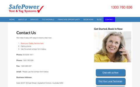 Screenshot of Contact Page safepower.net.au - Contact Us - SafePower - captured Nov. 18, 2016