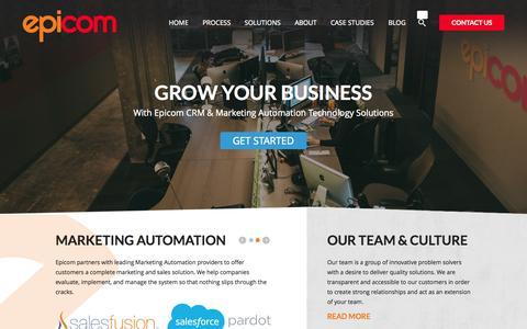 Screenshot of Home Page epicom.com - Epicom CRM Consulting and Marketing Automation | EPICOM - captured June 17, 2015