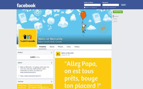 Screenshot of Facebook Page facebook.com - Malis et Merveille | Facebook - captured Oct. 23, 2014