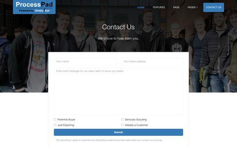 Screenshot of Contact Page simplyfeye.com - ProcessPad - captured June 13, 2017