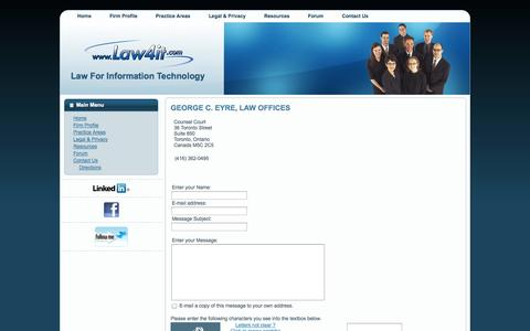 Screenshot of Contact Page law4it.com - LAW4IT.COM - Law For Information Technology  -  GEORGE C. EYRE, LAW OFFICES - captured Oct. 2, 2014