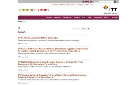 Screenshot of Press Page ittcannon.com - News | ITT Cannon - captured July 14, 2019