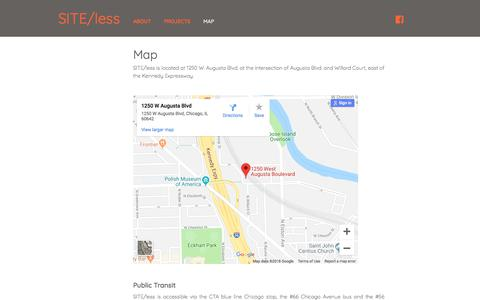 Screenshot of Maps & Directions Page siteless.org - Map - SITE/less - captured Sept. 21, 2018