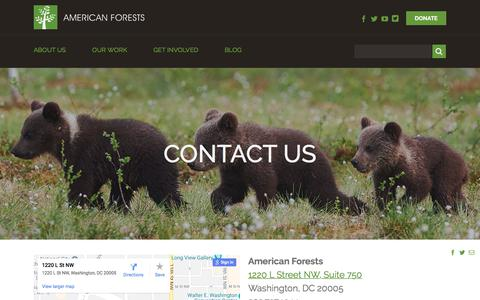 Screenshot of Contact Page americanforests.org - Contact Us - American Forests - captured July 30, 2018