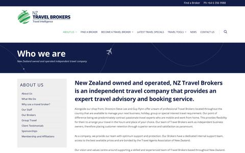 Screenshot of About Page nztravelbrokers.co.nz - About NZ Travel Brokers - captured Sept. 21, 2018