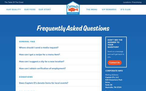 Screenshot of FAQ Page captainds.com - Captain D's - Your Seafood Restaurant | Frequently Asked Questions - captured July 15, 2018