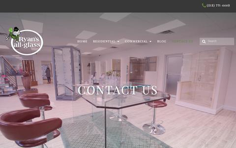 Screenshot of Contact Page ryansallglass.com - Contact Us | Ryan's All-Glass - captured Sept. 21, 2018