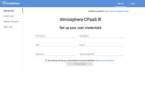 Screenshot of Trial Page intelepeer.com - Atmosphere - captured Oct. 11, 2019