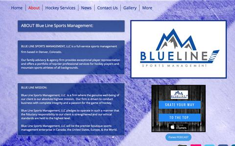 Screenshot of About Page blueline-sports.com - Blue Line Sports Management, LLC - Hockey Agency & Family Advisors | About - captured Oct. 10, 2017