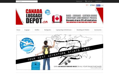 Screenshot of Home Page canadaluggagedepot.ca - Canada Luggage Depot | Luggage - Backpacks - Bags - Travel Gear - captured Jan. 23, 2015