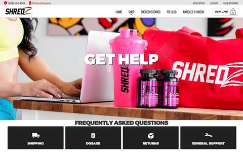 Screenshot of FAQ Page Support Page shredz.com - SHREDZ® Supplements | Bodybuilding and Weight Loss Solutions - captured Sept. 27, 2016
