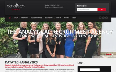 Screenshot of Home Page datatech.org.uk - Datatech | Analytics Jobs | Home - captured Sept. 12, 2019
