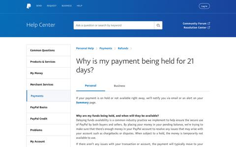 Why is my payment being held for 21 days?