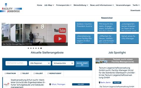 Screenshot of Home Page facility-stellenangebote.de - Facility Stellenangebote - Das Job-Portal für Facility Manager - captured Oct. 23, 2018