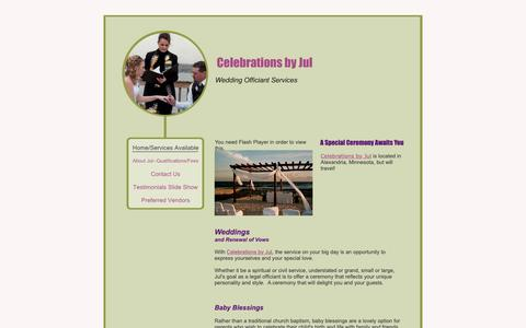 Screenshot of Home Page celebrationsbyjul.com - Celebrations by Jul - Home/Services Available - captured Dec. 7, 2018
