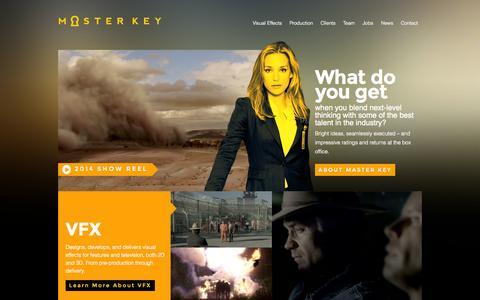 Screenshot of Home Page mkvfx.com - Master Key VFX - captured Oct. 6, 2014