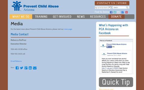 Screenshot of Press Page pcaaz.org - Media - Prevent Child Abuse Arizona - captured Oct. 2, 2014