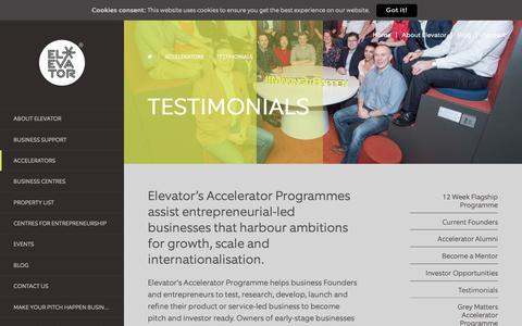 Screenshot of Testimonials Page enetrust.com - The Elevator Programme, A Business Accelerator Progamme - Elevator UK - captured Sept. 28, 2018