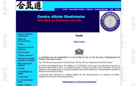 Screenshot of Terms Page aikido-riedisheim.com - Tarifs - captured March 23, 2017