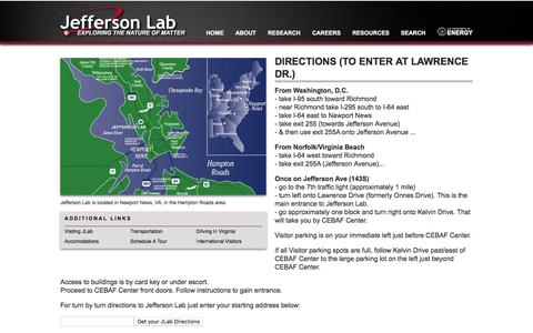 Screenshot of Maps & Directions Page jlab.org - Directions (to enter at Lawrence Dr.) | Jefferson Lab - captured Sept. 3, 2016
