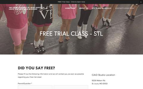 Screenshot of Trial Page theclarkacademy.com - Free Trial Class - STL — The Clark Academy of Irish Dance, St. Louis and Columbia Missouri - captured Nov. 9, 2017