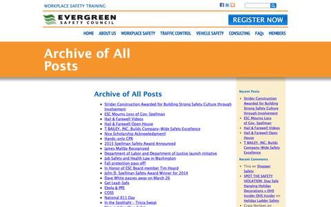 Screenshot of Blog esc.org - Archive of All Posts | Evergreen Safety Council - captured Sept. 29, 2018
