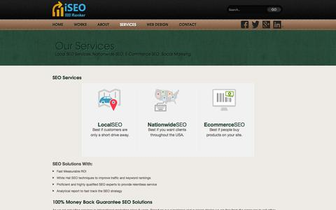 Screenshot of Services Page iseoranker.com - Local SEO Services, Nationwide SEO, E-Commerce SEO - captured Sept. 30, 2014