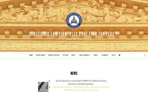 Screenshot of Press Page thefirmforfeds.com - NEWS | Schleicher Law Firm, PLLC | THE FIRM FOR FEDS℠ - captured Feb. 4, 2016