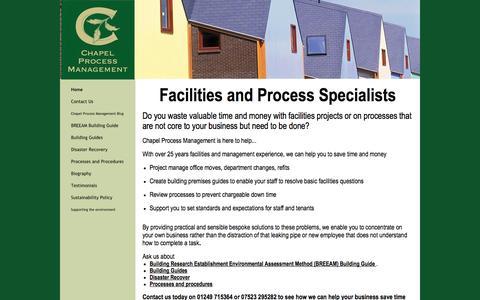 Screenshot of Home Page chapelpm.co.uk - Chapel Process Management - Home - captured Oct. 2, 2014