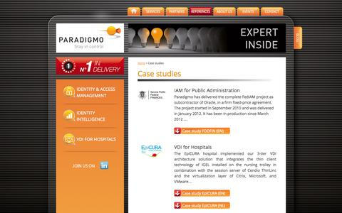 Screenshot of Case Studies Page paradigmo.com - Case studies - Paradigmo - captured Sept. 30, 2014