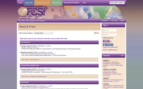 Screenshot of Press Page fcsi.org - News & Press - Foodservice Consultants Society International - captured Oct. 6, 2014