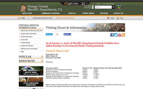 Screenshot of Hours Page ocsd.org - Orange County, California - Visiting Hours & Information - captured Oct. 21, 2017