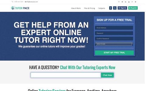 Screenshot of Home Page tutorpace.com - Online Tutoring, Homework Help in Math, English, Science - Tutorpace.com - captured Oct. 10, 2014