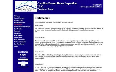 Screenshot of Testimonials Page carolinadreamhi.com - Testimonials | Carolina Dream Home Inspection, LLC - captured Oct. 2, 2014