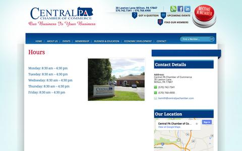 Screenshot of Hours Page centralpachamber.com - Hours | Central PA Chamber of Commerce - captured Oct. 2, 2014