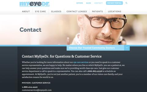 Screenshot of FAQ Page myeyedr.com - Contact Our Eye Care Company in NC, SC, FL, GA, VA, MD & DC - captured Dec. 13, 2015