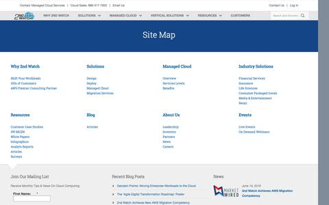 Screenshot of Site Map Page 2ndwatch.com - Site Map Â« 2nd Watch - captured July 3, 2016