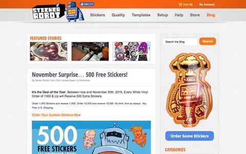 Screenshot of Blog stickerobot.com - The Stickerobot Blog - A Celebration of Stickers - captured Nov. 15, 2016