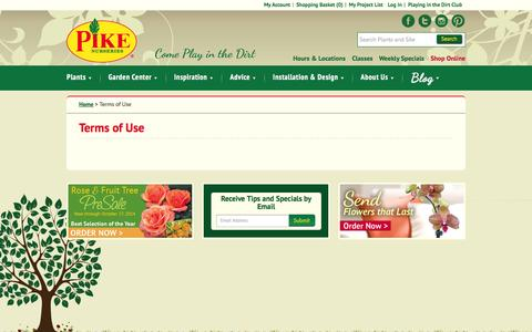 Screenshot of Terms Page pikenursery.com - Terms of Use / Pike Nurseries - captured Oct. 2, 2014