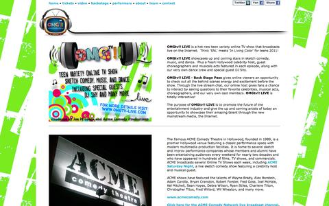 Screenshot of About Page omgtv-live.com - OMGTV Live - comedy.music.dance - captured Sept. 30, 2014