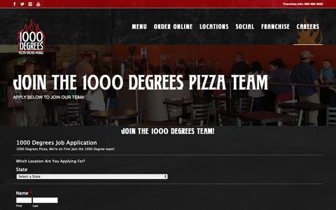 Screenshot of Jobs Page 1000degreespizza.com - Job Application - 1000 Degrees Neapolitan Pizza Franchise Fast Casual Pizzeria Franchises - captured Nov. 22, 2018