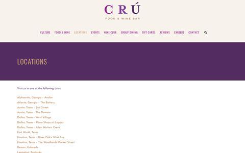 Screenshot of Locations Page cruawinebar.com - Locations – CRÚ Food & Wine Bar : - captured Sept. 30, 2018