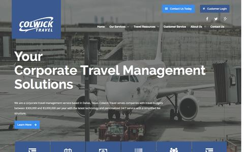 Screenshot of Home Page colwick.com - Corporate Travel Management - Colwick Travel - captured Jan. 30, 2016
