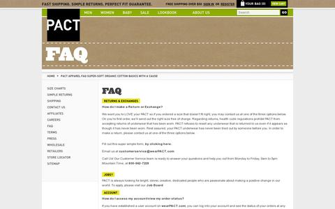 Screenshot of FAQ Page wearpact.com - PACT Apparel FAQ Super-Soft Organic Cotton Basics With A Cause - captured July 19, 2014