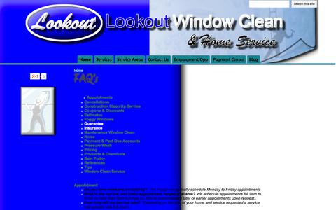 Screenshot of FAQ Page lookoutwindowcleanandhomeservice.com - FAQ's - Lookout Window Clean & Home Service - captured Oct. 3, 2014