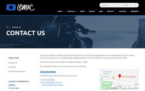 Screenshot of Contact Page lemac.com.au - Contact Us - captured Oct. 28, 2019